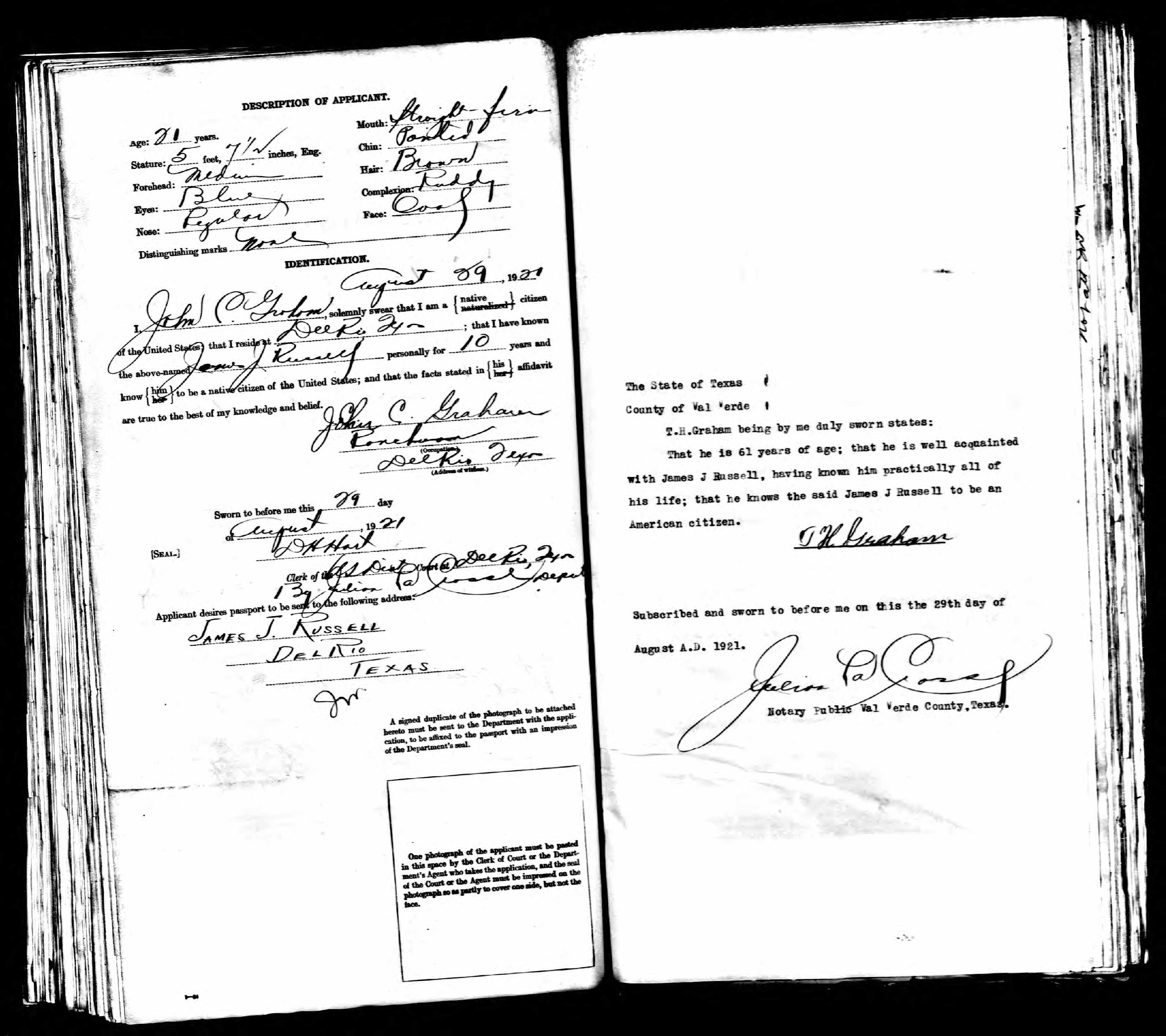 People Who Applied For Passports With Menard County Connections 1920